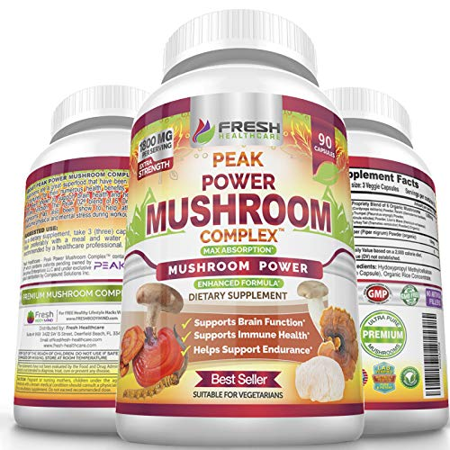 Organic Mushroom Supplement - Peak Power Mushroom Complex - Lions Mane, Cordyceps, Reishi, Turkey Tail & Shiitake Extract for Brain, Immune, Stamina & Stress Support - 90 Vegan Powder Capsules
