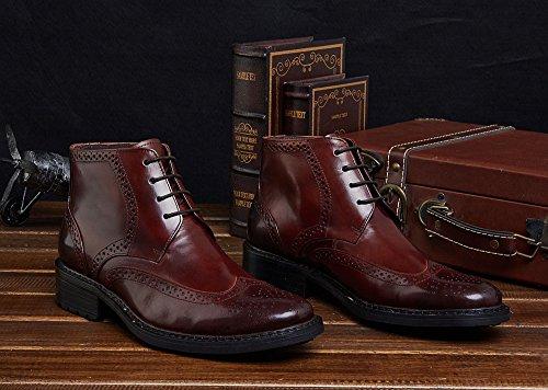 ville à Bottes de Wuf dentelle Chaussures combat lacets Bottines intelligente Cuir Chaussures Brogue formelle Café Homme En Classiques 1FFfw0qU