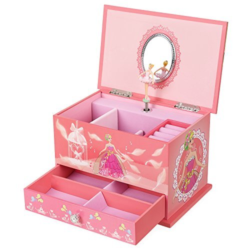 SONGMICS Musical Jewelry Box Ballerina Jewel Storage Case, Gift for Little Girls, Ball Princess with Brahms Lullaby Melody, Pink UJMC006 -