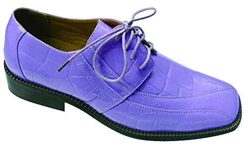(Men'ss Fashion Oxford Faux Croc-Embossed Leather Dress Shoes Style-5733 (9.5, Lilac))
