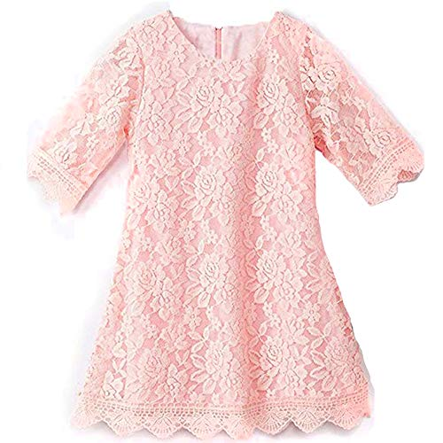 (Flower Dress for Little Girls 3 Years Old Sleeveless Floor Length Special Occasion Dress for Kids Lace A-Line Church Party Holiday Christmas Pageant Dress for Toddlers 3T White Princess (Pink 120))