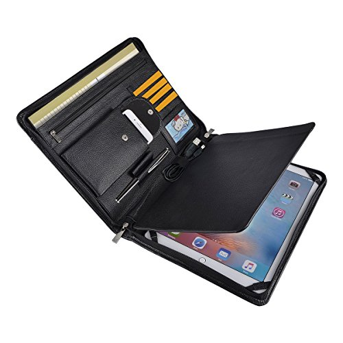 Professional Leather Business Organizer Portfolio Case with Zipper Closure for iPad Pro 12.9 inch (A4) Paper Pocket (iPad Pro 12.9 inch) by YIWEN