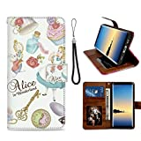DISNEY COLLECTION Phone Wallet Case Compatible Galaxy Note 8 [6.3inch] Alice in Wonderland Wallpaper Protective