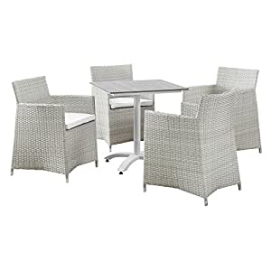 LexMod Junction 5 Piece Outdoor Patio Dining Set, Gray/White