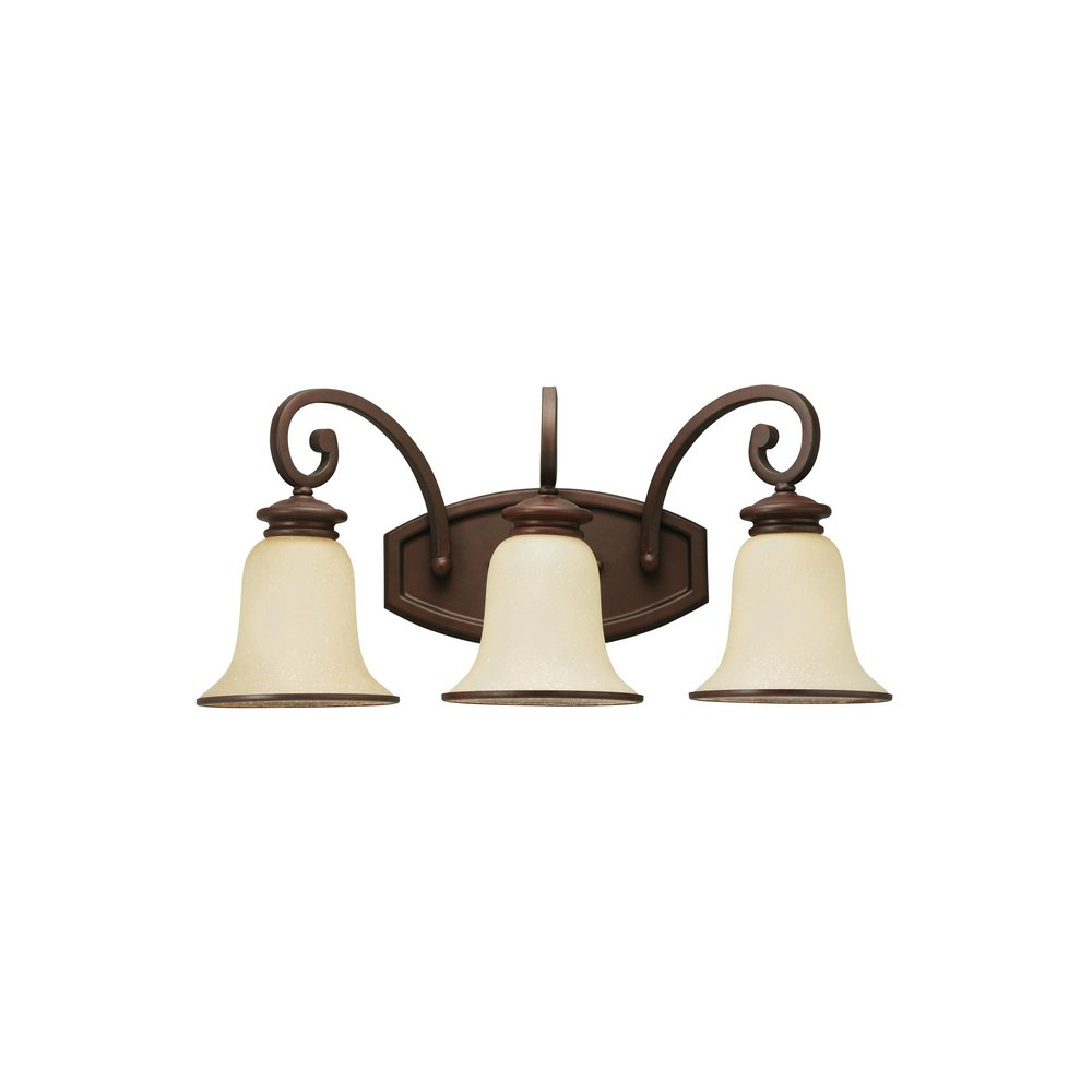 Sea Gull Lighting 44146-814 Acadia Three-Light Wall Vanity, Misted Bronze Finish with Champagne Seeded Glass