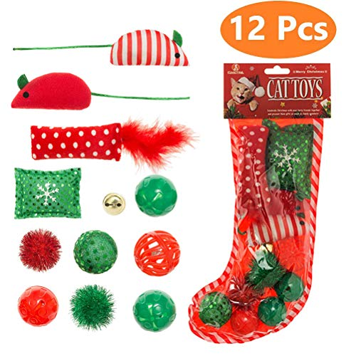 Christmas Cat Toys Stocking - 12 Pack, Colorful Crinkle Balls, Fluffy Mice, Pillow and Bell, Stored in as What the Pictures Show (Cat Christmas Toys)