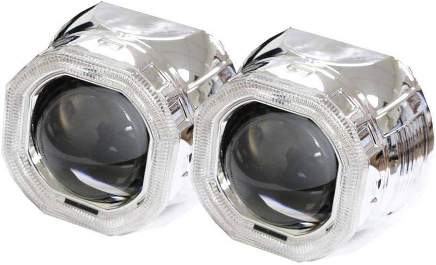 C-FUNN 2.5Inch Bi-Xenon Hi//Lo Hid Projector Kit Conversion Lens Angel Eye Ccfl Halo White