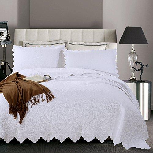 Dodou White Garden Theme printing Quilt European Style Quilt Patchwork Bedspread/Quilt Sets 100% Cotton Queen Size 3pcs by Dodou