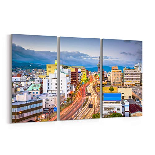 (Beppu Skyline Canvas Beppu Canvas Art Beppu Wall Art Canvas Japan Multiple Sizes Gallery Wrapped Canvas on Pine Wooden Frame)