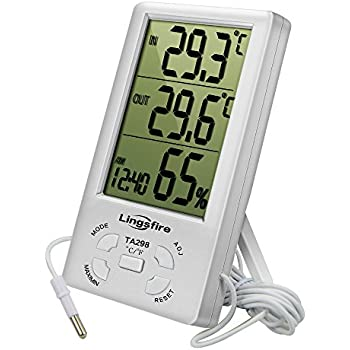 LingsFire Digital LCD Indoor/Outdoor Thermometer Humidity Hygrometer With  Min/ Max Value And Clock (TA298)