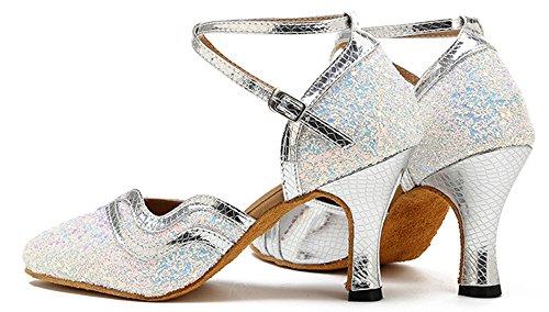 Honingwinkel Dames Glitter Pailletten Dikke Midhak Gesloten Teen Latin Dance Party Schoenen Mary Jean White