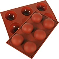 Jasinber Set de 2 Molde de silicona de semi esfera de 6 cavidades grandes para hacer chocolate, pastel, jalea, mousse de…