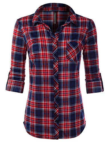- JJ Perfection Womens Long Sleeve Knit Plaid Collared Checkered Blouse Shirt NAVYRED XL
