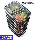 MarcBTO Meal Prep Food Storage Containers 10 Pack 2 Compartment Bento Lunch Boxes with Lids,10 Sporks Included