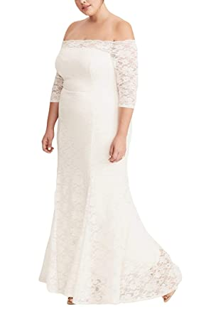 f52d0287cce7 FUSENFENG Womens Plus Size Lace Off Shoulder Wedding Evening Party Maxi  Dress Gown (White