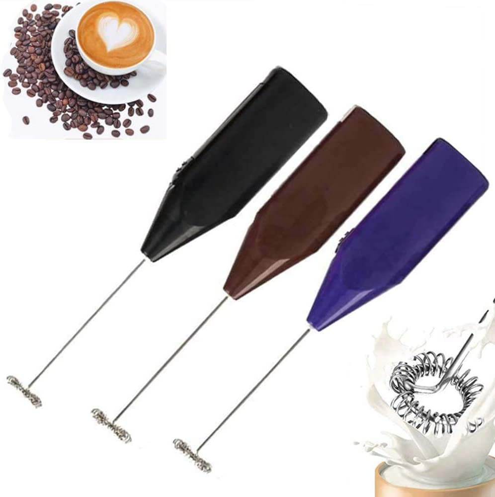 Milk Frothers 3PCS Handheld Foam Maker for Lattes Electric Foam Maker for Drink Mixer, Perfect for Bulletproof Coffee, Matcha, Hot Chocolate (Battery Operated)