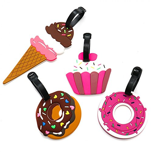 Pack Case Cup (HUELE Set of 4 Colorful Funny Cupcakes Sprinkle Donuts Luggage Tags for Women Kids Travel Baggage Tags Suitcase Bag Lables Backpack Identifier)