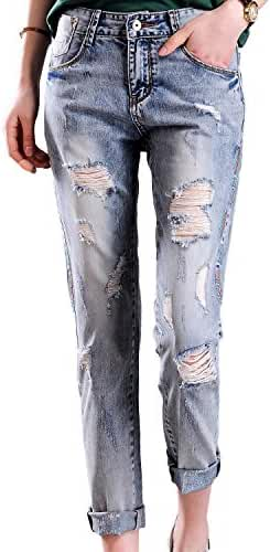 Chickle Women's Loose Fit Washed Cotton Ripped Distressed Jeans