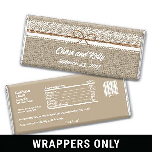 Wedding Favors - Custom Burlap & Lace Wrappers for HERSHEY'S Milk Chocolate Bars (25 (Custom Candy Bar)