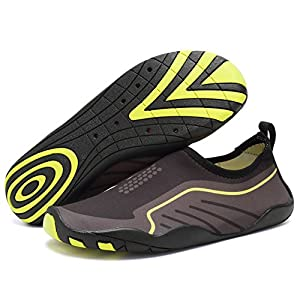 CIOR Men Women's Barefoot Quick-Dry Water Sports Aqua Shoes with 14 Drainage Holes for Swim, Walking, Yoga, Lake, Beach, Garden, Park, Driving,SYY04,black,44