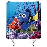 Clown Fish Shower Curtain Fangkun Ocean World Theme Shower Curtain - Happy Clown Fish Bath Curtains Set - Polyester Fabric Waterproof Mildew - 12PCS Shower Hooks (YL169#, 72 x 72 inches)