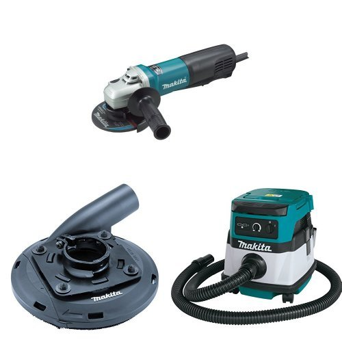 Makita 9565PC 5-Inch SJS Paddle Switch Angle Grinder, 195236-5 Surface Grinding Shroud, XCV04Z 18V X2 LXT (36V) 2.1 Gallon HEPA Filter Dry Dust Extractor/Vacuum