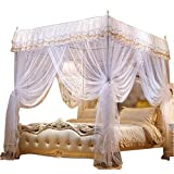 4 Poster King Bed Nattey 4 Corner Poster Princess Bedding Curtain Canopy Mosquito Netting Canopies (California King, White)