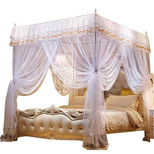 Nattey 4 Corner Poster Princess Bedding Curtain Canopy Mosquito Netting Canopies (Queen, White) ()
