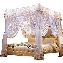 Nattey 4 Corner Poster Princess Bedding Curtain Canopy Mosquito Netting Canopies (California King, White)