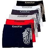 Knocker 6 Mens Microfiber Boxer Briefs Seamless Compression Underwear One Size