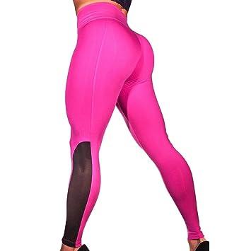 dbdec077941b3 Amazon.com: Snowfoller Sports Athletic Pants, Women High Waist Sexy Mesh  Patchwork Fitness Leggings Running Gym Stretch Yoga Trousers (XL, Hot  Pink): Toys & ...