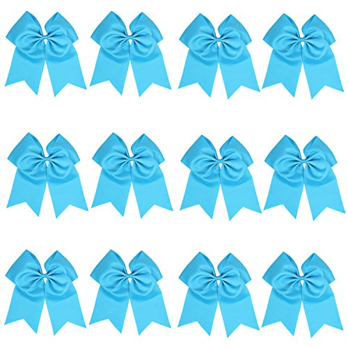 "ICObuty 12 Pcs 8"" Jumbo Cheer Bows Ponytail Holder Cheerleading Bows Hair Tie for Teens Girl (Light (Blue Satin Hair Bow)"