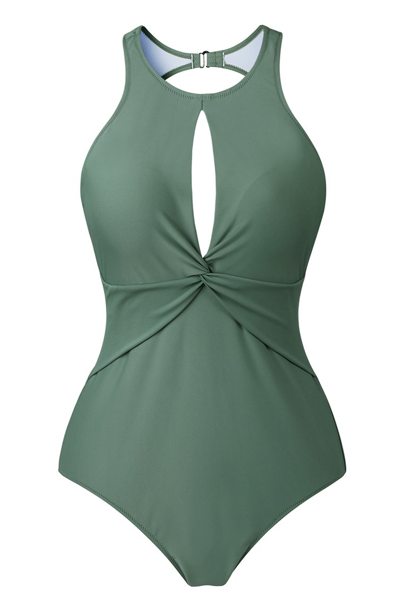 Upopby Women's High Neck Padded One Piece Swimsuits Monokini Plus Size Swimwear Army Green 14