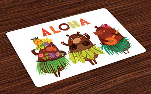 Bear Aloha (Ambesonne Island Party Place Mats Set of 4, Aloha Typography with Funny Bears in Hawaiian Costume Dancing in Music, Washable Fabric Placemats for Dining Room Kitchen Table Decor, Multicolor)
