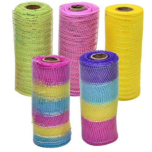 (30 Yards of Easter Decorative Mesh Wrap Includes 6 Rolls of Ribbon Each 6