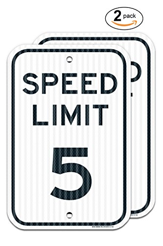 (2 Pack) Speed Limit 5 MPH Sign, 12x18 3M Reflective (EGP) Rust Free,63 Aluminum, Easy to Mount Weather Resistant Long Lasting Ink, Made in USA by SIGO Sign