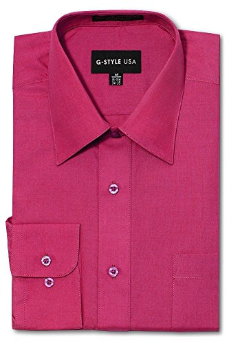 (G-Style USA Men's Regular Fit Long Sleeve Solid Color Dress Shirts - Fuschia - X-Large - 32-33)