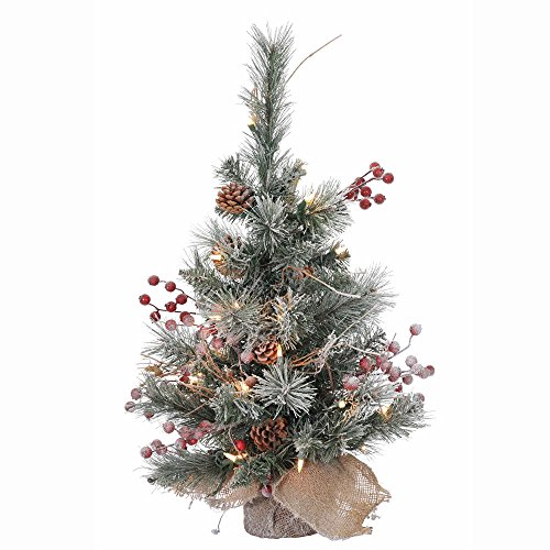 Vickerman Snow Tip Pine/Berry Tree with 20 Clear Lights, 2-Feet by 16-Inch
