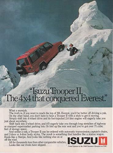 Magazine Print Ad: Red 1988 Isuzu Trooper II,