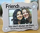Banberry Designs Friends Picture Frame - Ceramic Picture Frame Fits a 4'' X 6'' Photo - Friends Are Like Stars - Thank you Gift for a Friend