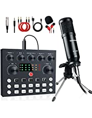 $49 » Podcast Equipment Bundle, Live Streaming Audio Interface with DJ Mixer ALL-IN-ONE Sound Mixer Microphone Perfect Recording for PC/Laptop/Smartphone, OBS match YouTube, Tiktok, Twitch, Facebook live