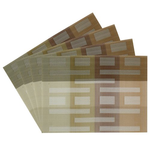 ns Geometric Shapes Woven Vinyl Placemats, Taupe, Set of 4 (Taupe Vinyl)
