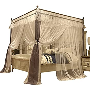 Mengersi four corner post bed curtain canopy - King size canopy bed with curtains ...
