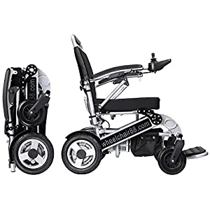 Foldawheel PW-1000XL Power Chair (2 years global warranty) weighs just 57 lbs with battery - Opens & folds in 2 seconds. This electric motorized wheelchair comes with a thick durable travel bag. from Wheelchair88