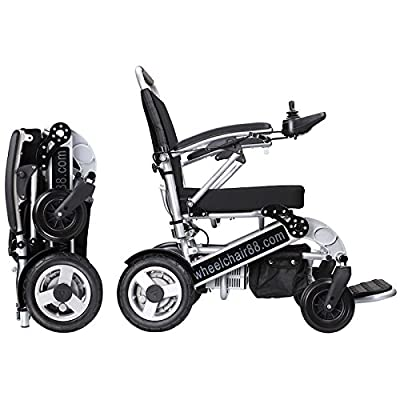 Foldawheel PW-1000XL Power Chair - 55 lbs only, heavy duty (Supports 330 lbs) Foldable in just 2 seconds. Comes with a thick & tuff travel bag. Electric power motorized wheelchair.