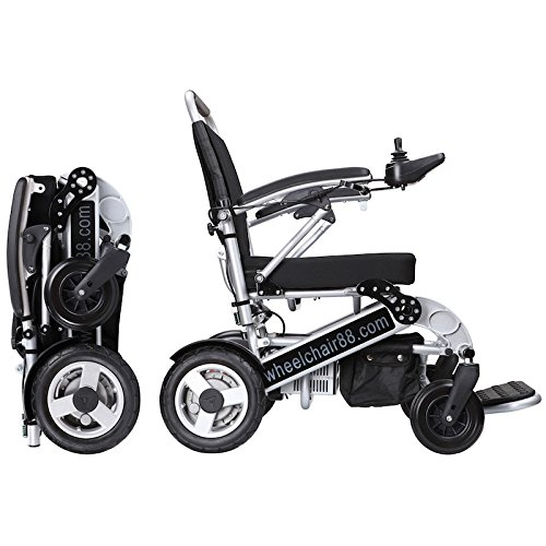 Foldawheel PW-1000XL (2 Batteries+2 Yrs Warranty+Free Travel Bag) Only 55 lb+3.5 lb per Li-ion Battery, Longest Driving Range Power Wheelchair.