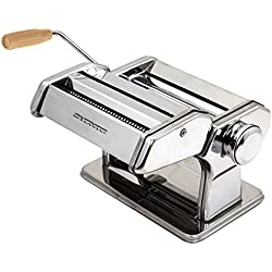 Ovente Stainless Steel Pasta Maker, Includes Hand Crank, Adjustable Countertop Clamp, and Double Pasta Cutter Attachment, 150mm, Vintage Style, 7-Position Dial, Polished Chrome (PA515S)