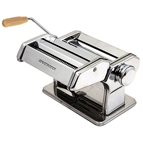 Ovente Stainless Steel Pasta Maker, Includes Hand Crank, Adjustable Countertop Clamp, and Double Pasta Cutter Attachment, 180mm, Vintage Style, 7-Position Dial, Polished Chrome (PA518S) (Maker Stainless Steel Pasta)