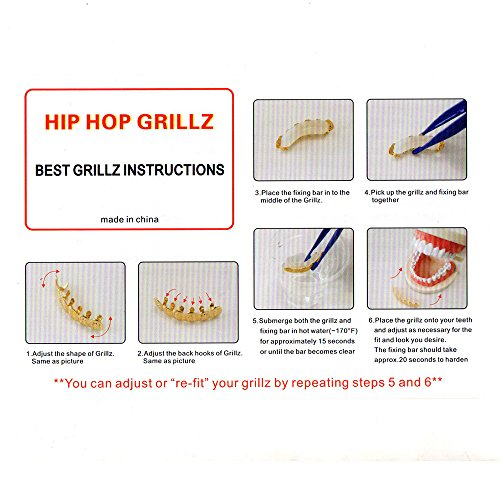 Lureen 14k Gold Silver Pave Full CZ Grillz 6 Top and Bottom Hip Hop Teeth Sets (Silver Set) by Lureen (Image #6)'
