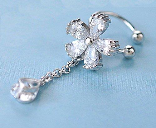 S925 Sterling Silver Non Piercing Ear Clip Earrings CZ Flower Dangle Cuff Earrings(1Paris) by Amkaka (Image #2)